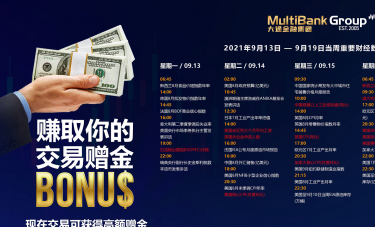 MultiBank大通金融当周重要财经数据与事件(20210913-0919)